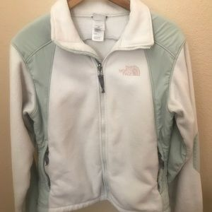 Women's Small North Face Coat White and Mint green